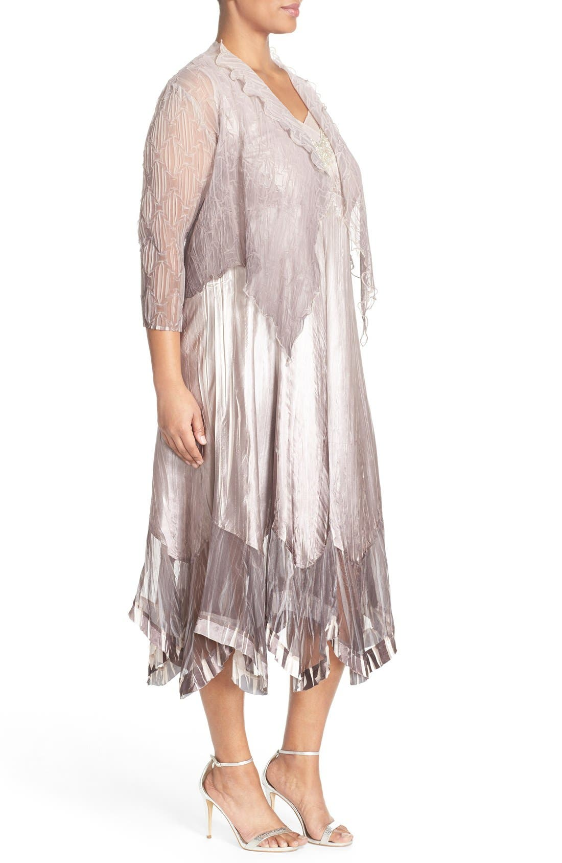 Embellished V-Neck Chiffon & Charmeuse Dress with Jacket,                             Alternate thumbnail 3, color,                             Beach Cafe Ombre