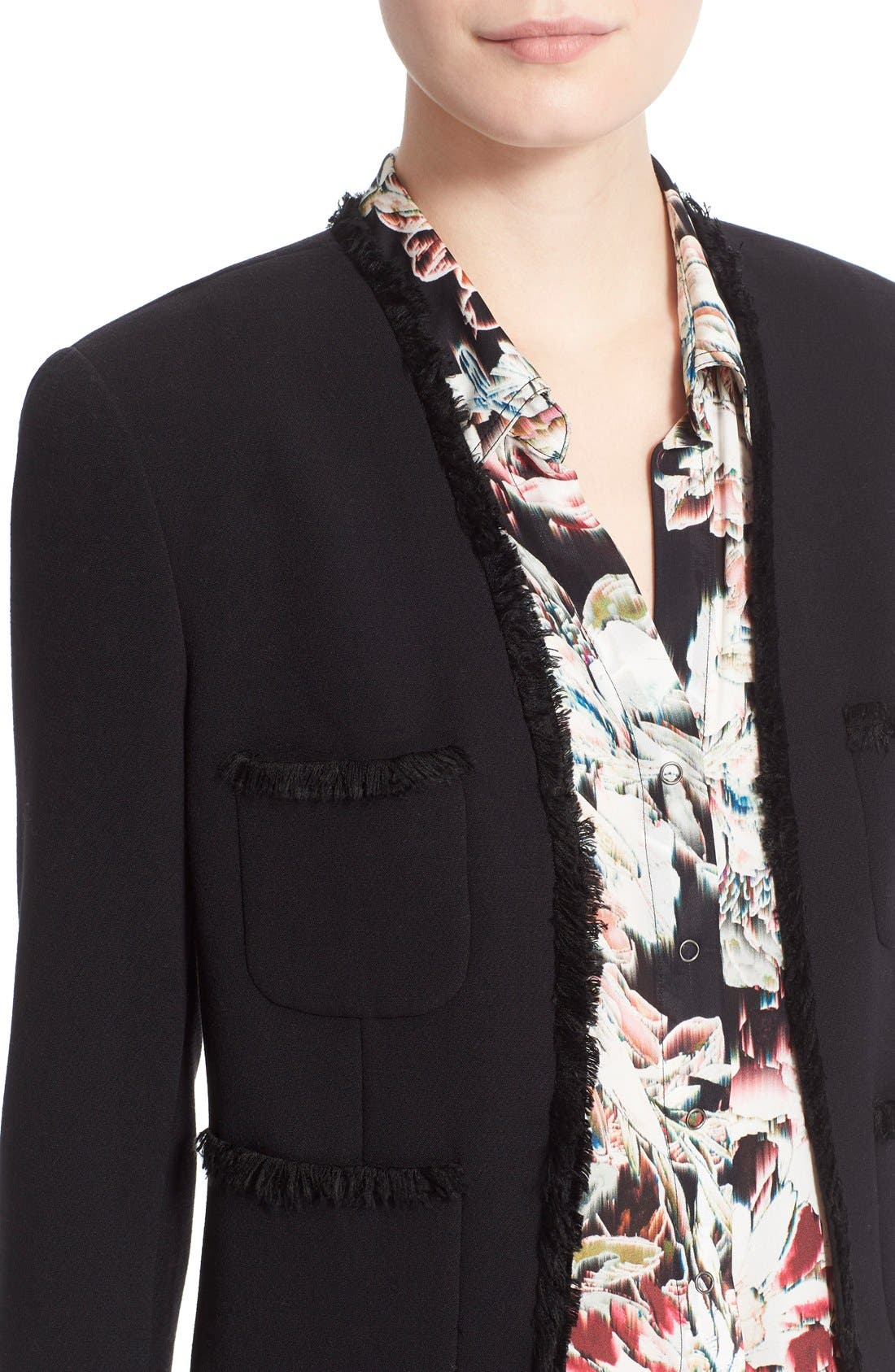 Alternate Image 4  - L'AGENCE Fringe Trim Tailored Jacket