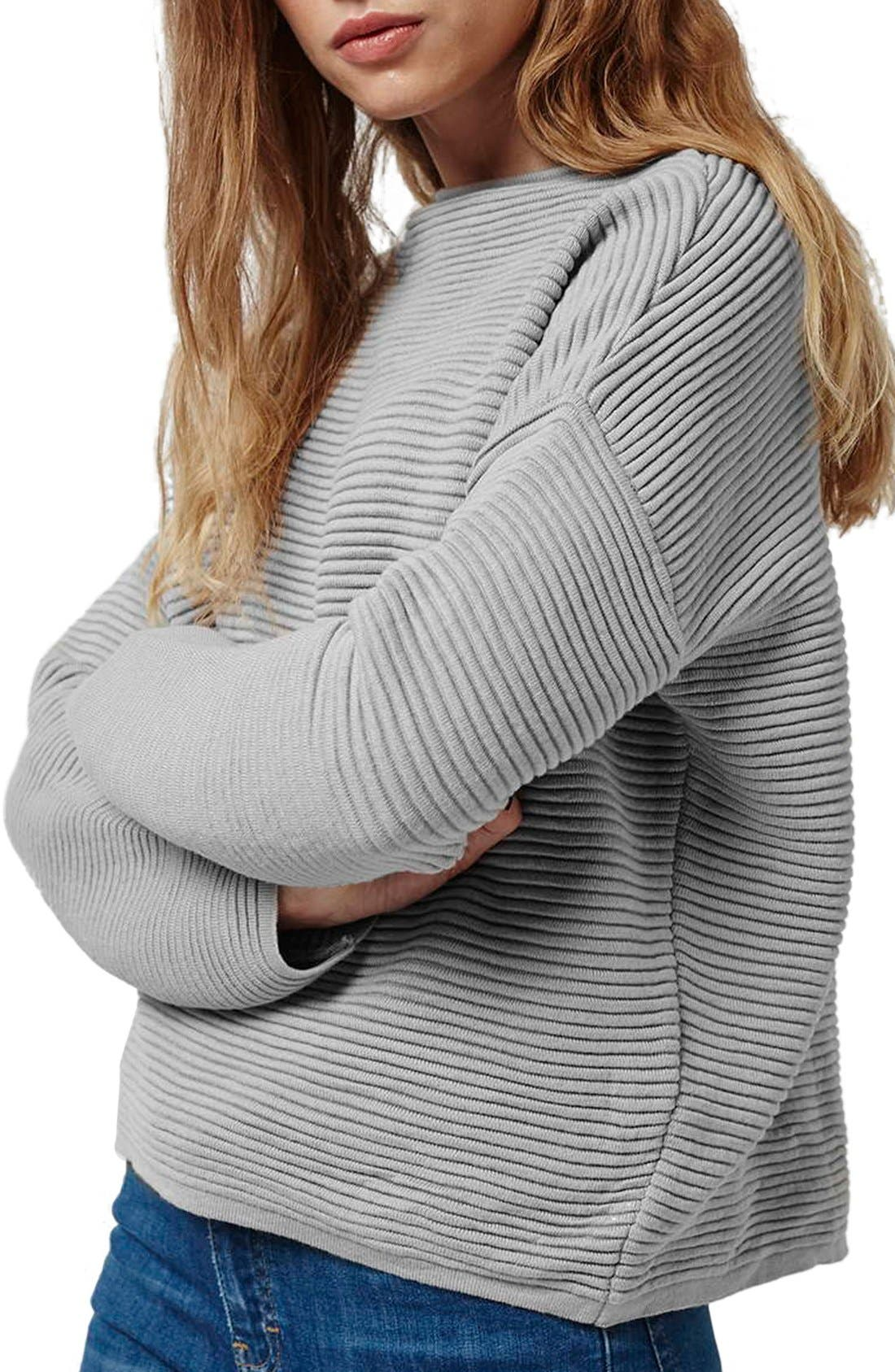Alternate Image 1 Selected - Topshop Ribbed Pullover Sweater