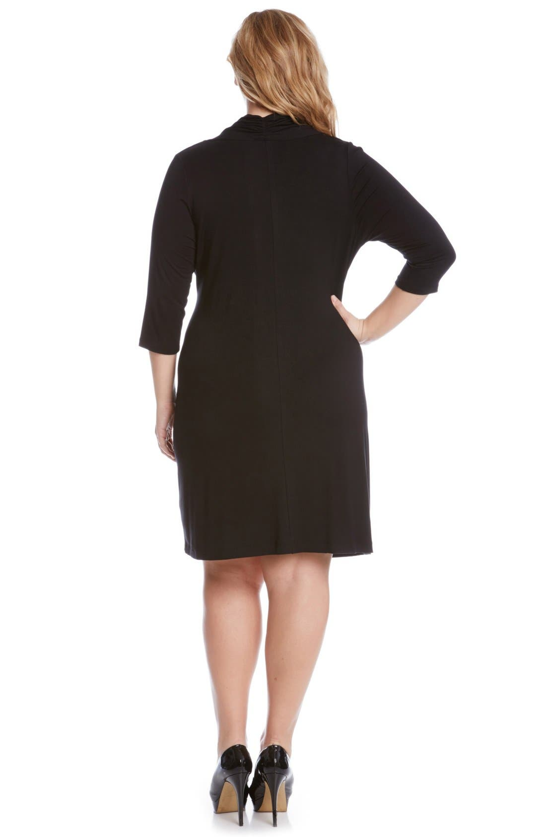 Three Quarter Sleeve Jersey Cascade Faux Wrap Dress,                             Alternate thumbnail 2, color,                             Black