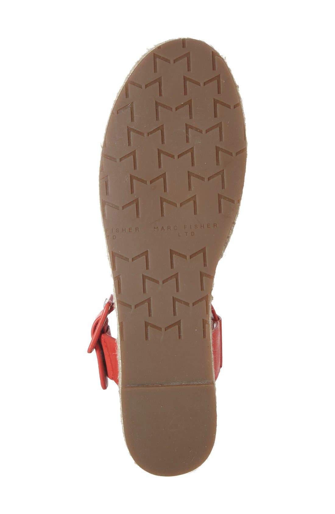 'Vienna' Espadrille Sandal,                             Alternate thumbnail 4, color,                             Red Leather