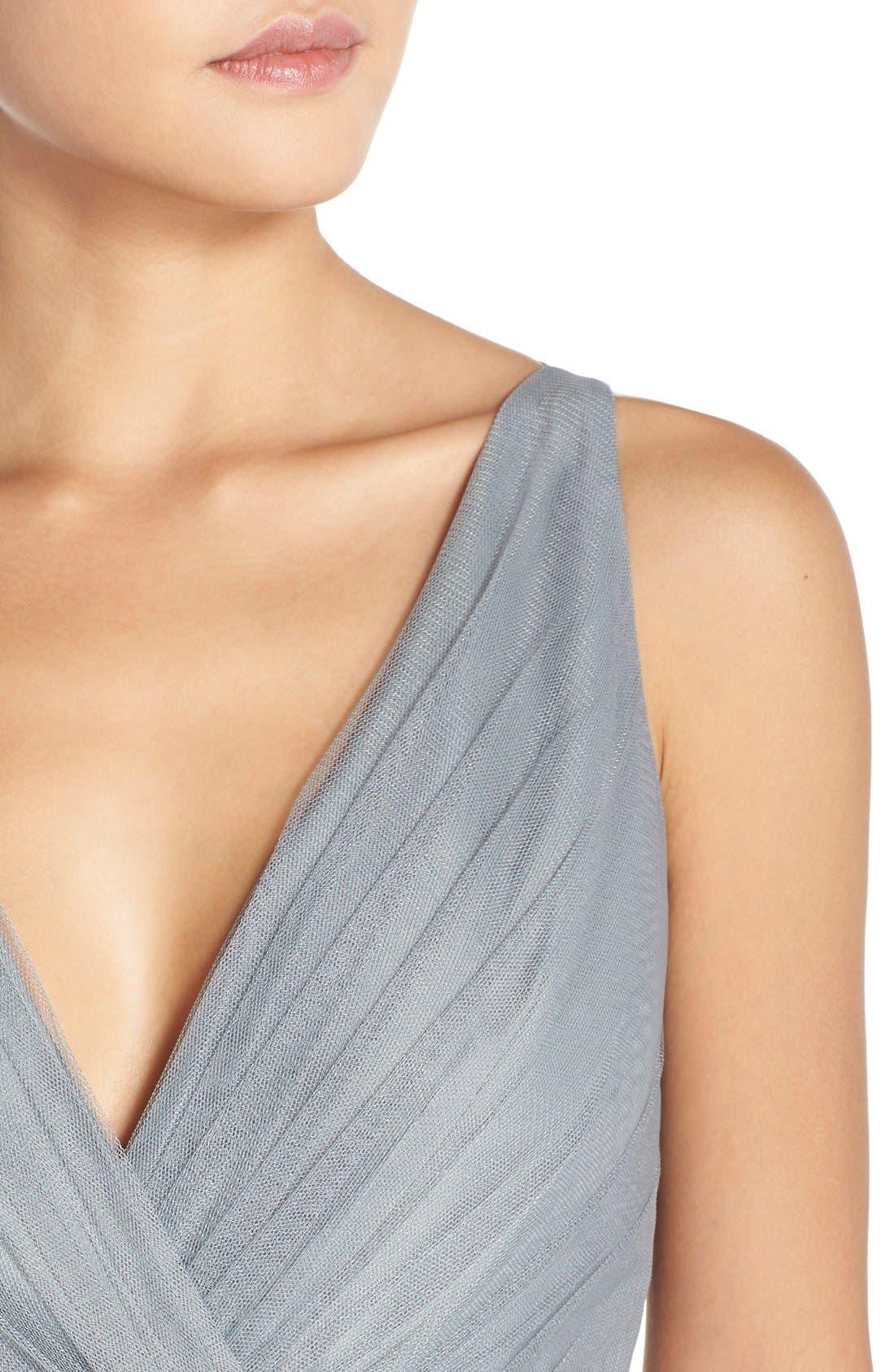 Back Cutout Pleat Tulle Gown,                             Alternate thumbnail 4, color,                             Sea