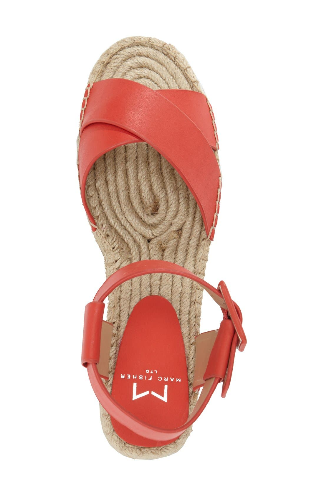 'Vienna' Espadrille Sandal,                             Alternate thumbnail 3, color,                             Red Leather