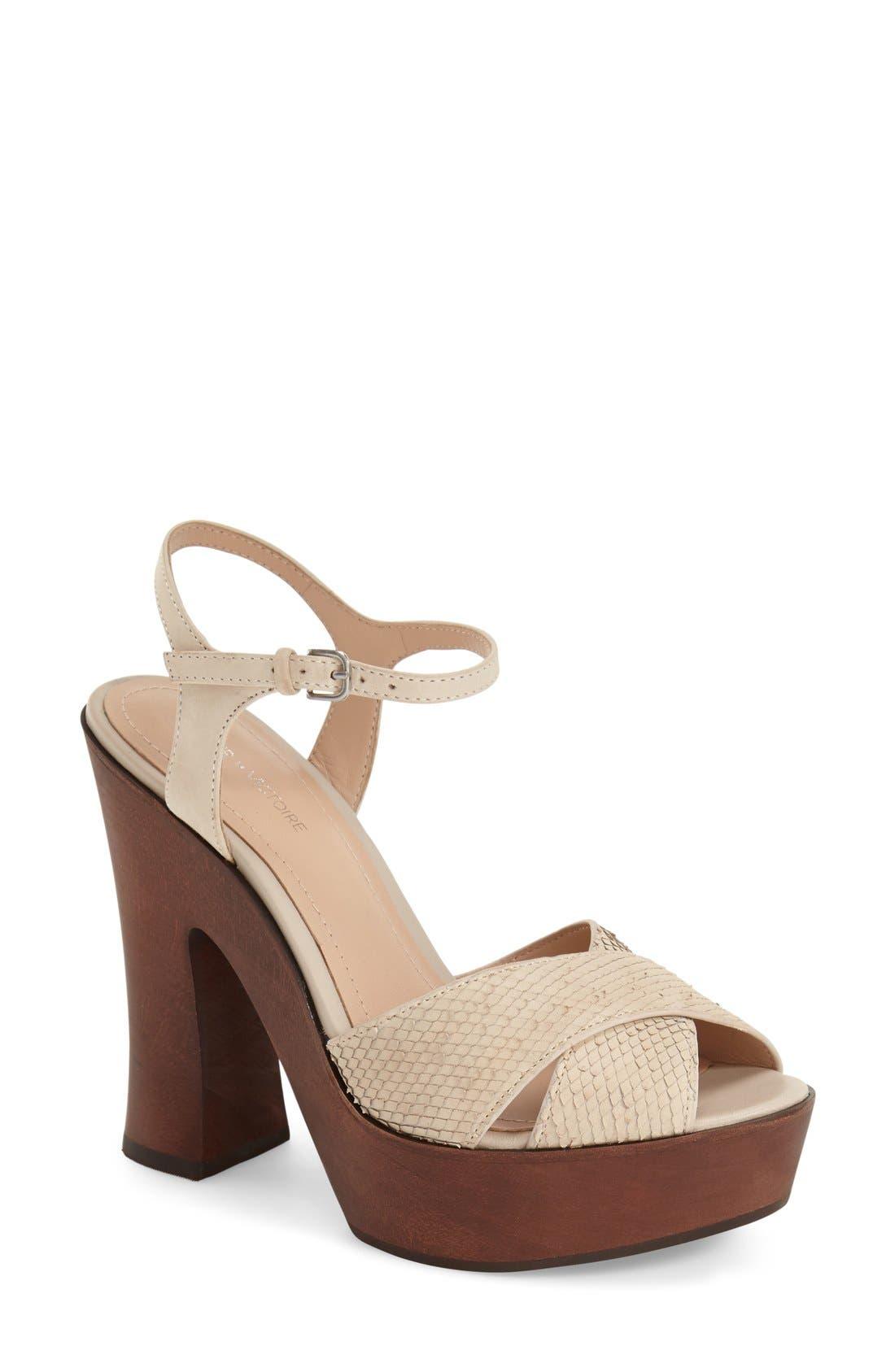 'Dakota' Platform Sandal,                             Main thumbnail 1, color,                             Bone Leather