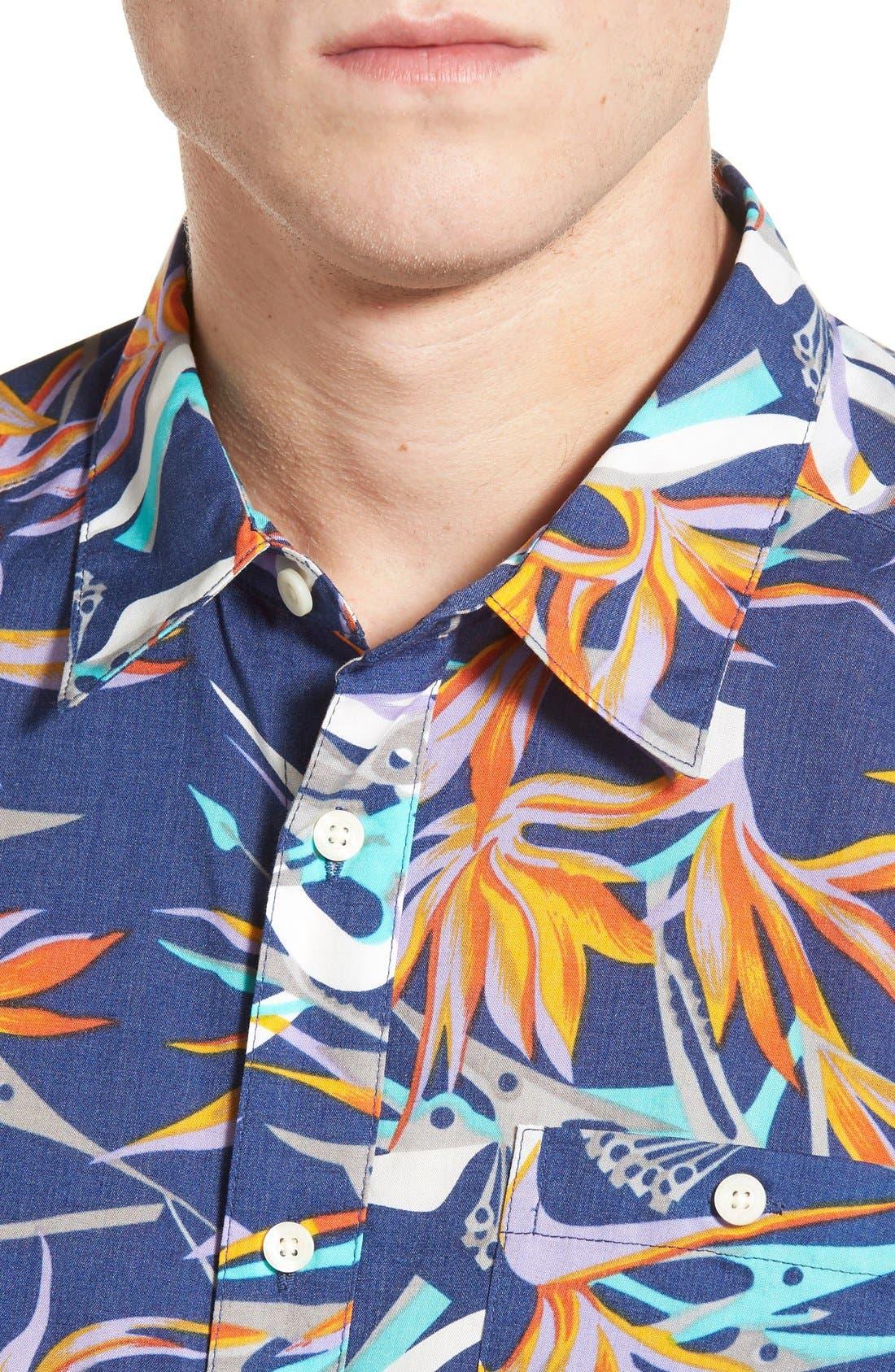 'Go To' Slim Fit Short Sleeve Sport Shirt,                             Alternate thumbnail 4, color,                             Piton Paradise/ Channel Blue