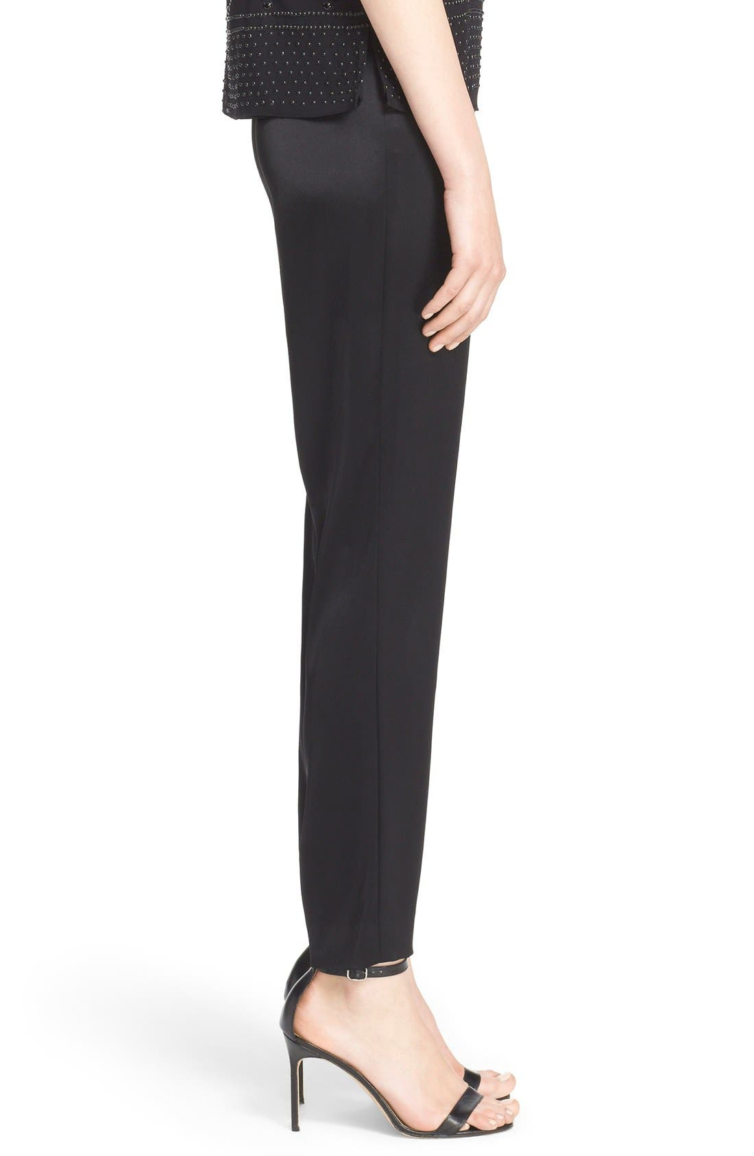Emma Satin Ankle Pants,                             Alternate thumbnail 6, color,                             Caviar