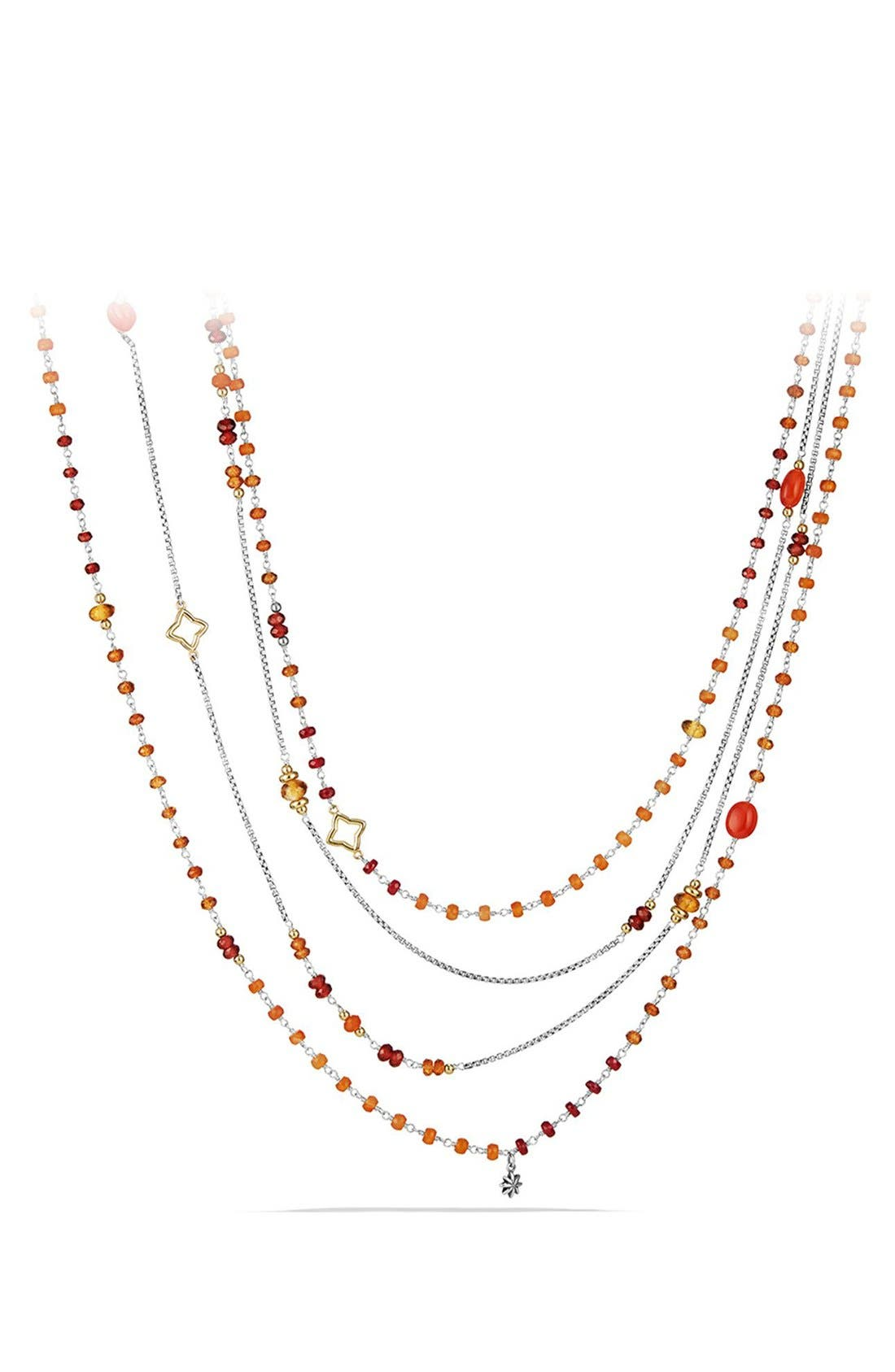 David Yurman 'Bead and Chain' Bead Necklace with Carnelian, Garnet & 18K Gold