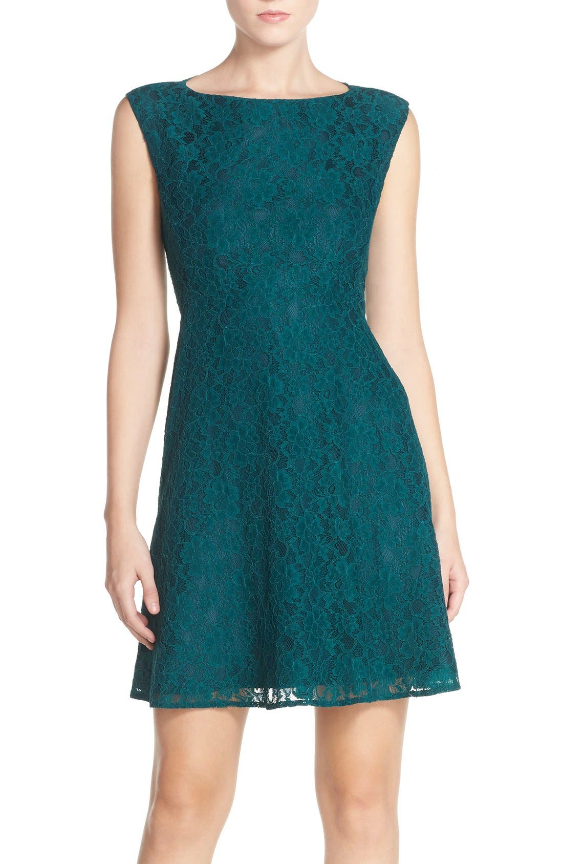 Fit & Flare Dress,                             Main thumbnail 1, color,                             Jewel Green