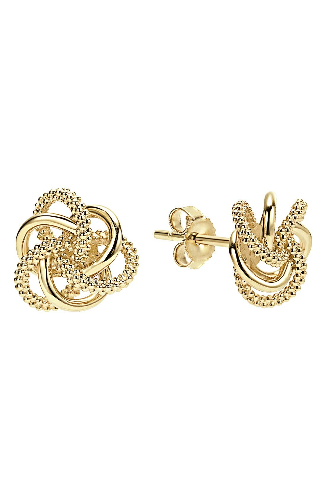 'Love Knot' 18k Gold Stud Earrings,                             Main thumbnail 1, color,                             Gold