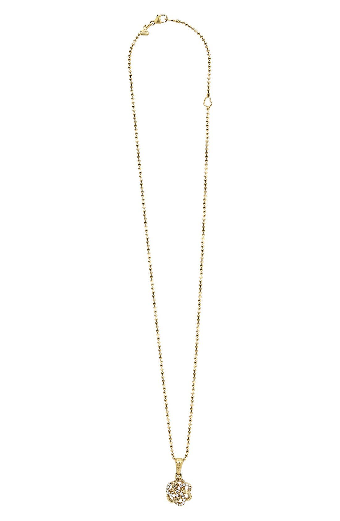 'Love Knot' Diamond Pendant Necklace,                             Alternate thumbnail 2, color,                             Gold