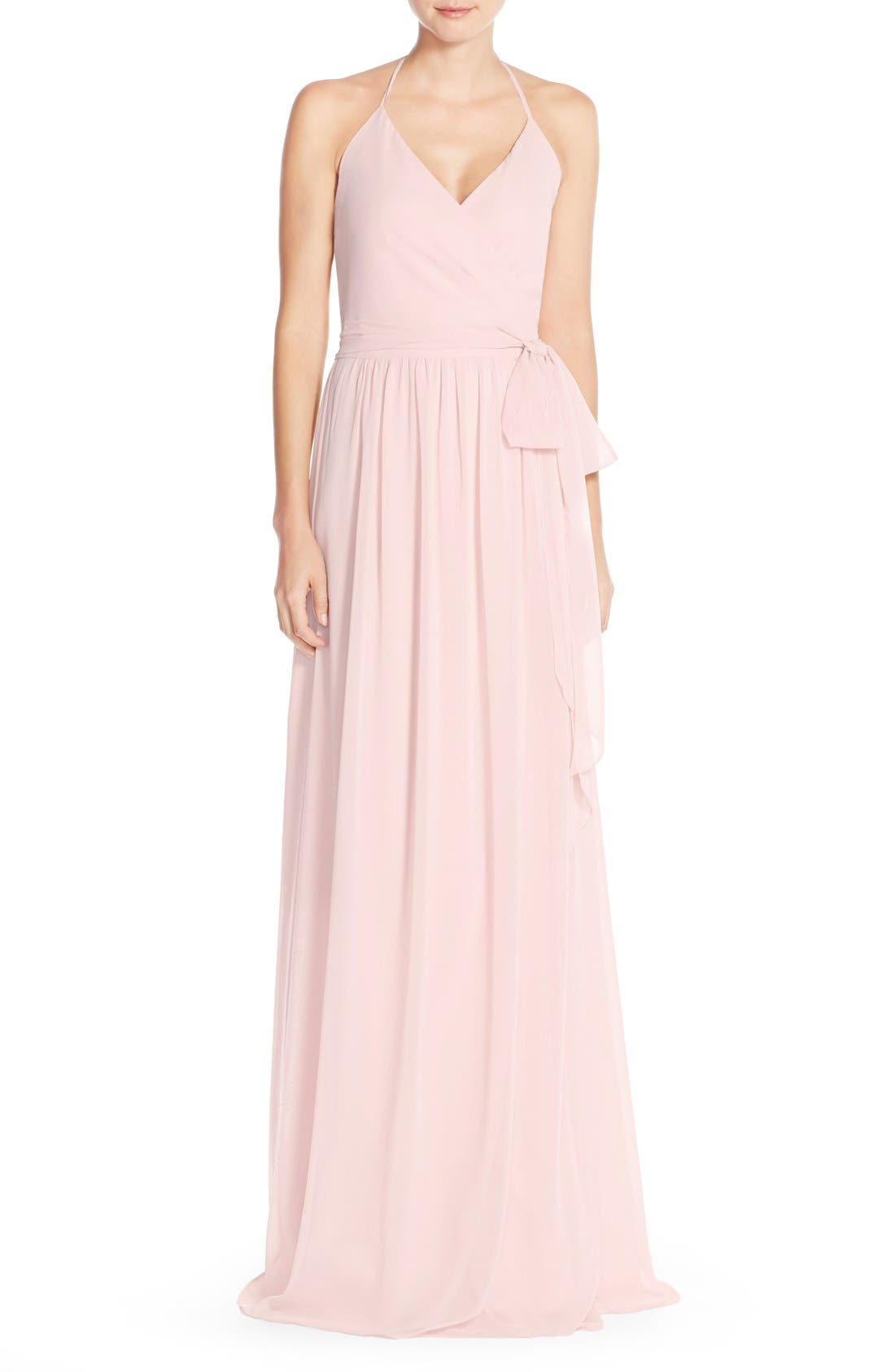 Alternate Image 1 Selected - Ceremony by Joanna August 'DC' Halter Wrap Chiffon Gown