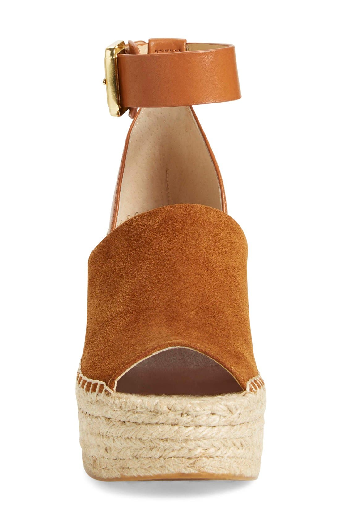 'Adalyn' Espadrille Wedge Sandal,                             Alternate thumbnail 3, color,                             Tan/ Saddle