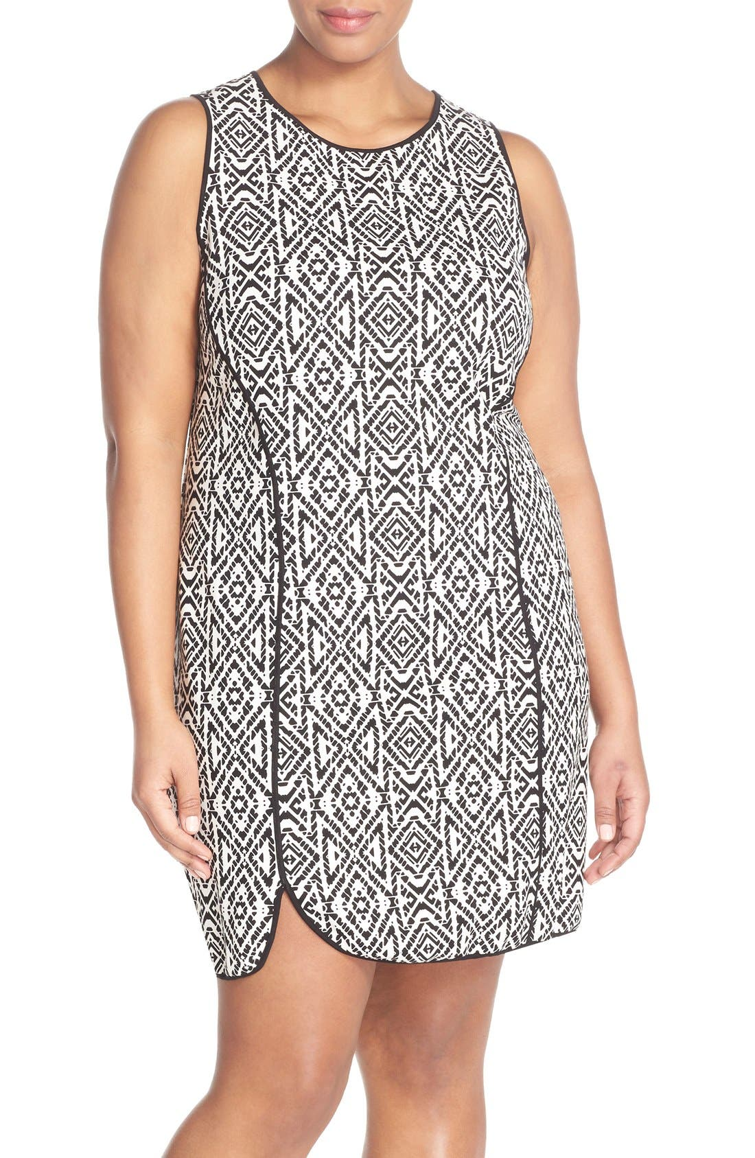 'Joslyn' Sleeveless Seam Detail Ponte Sheath Dress,                         Main,                         color, Stamped Geo