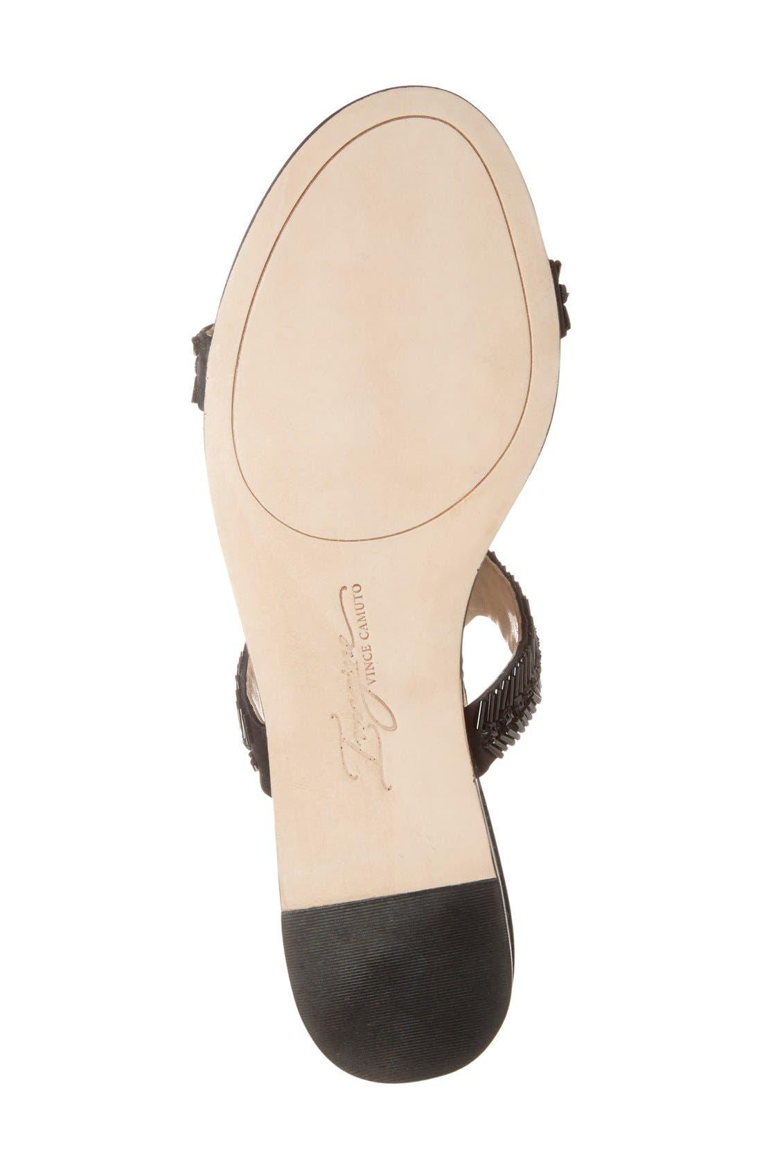 Imagine Vince Camuto 'Reid' Embellished T-Strap Flat Sandal,                             Alternate thumbnail 4, color,                             Black