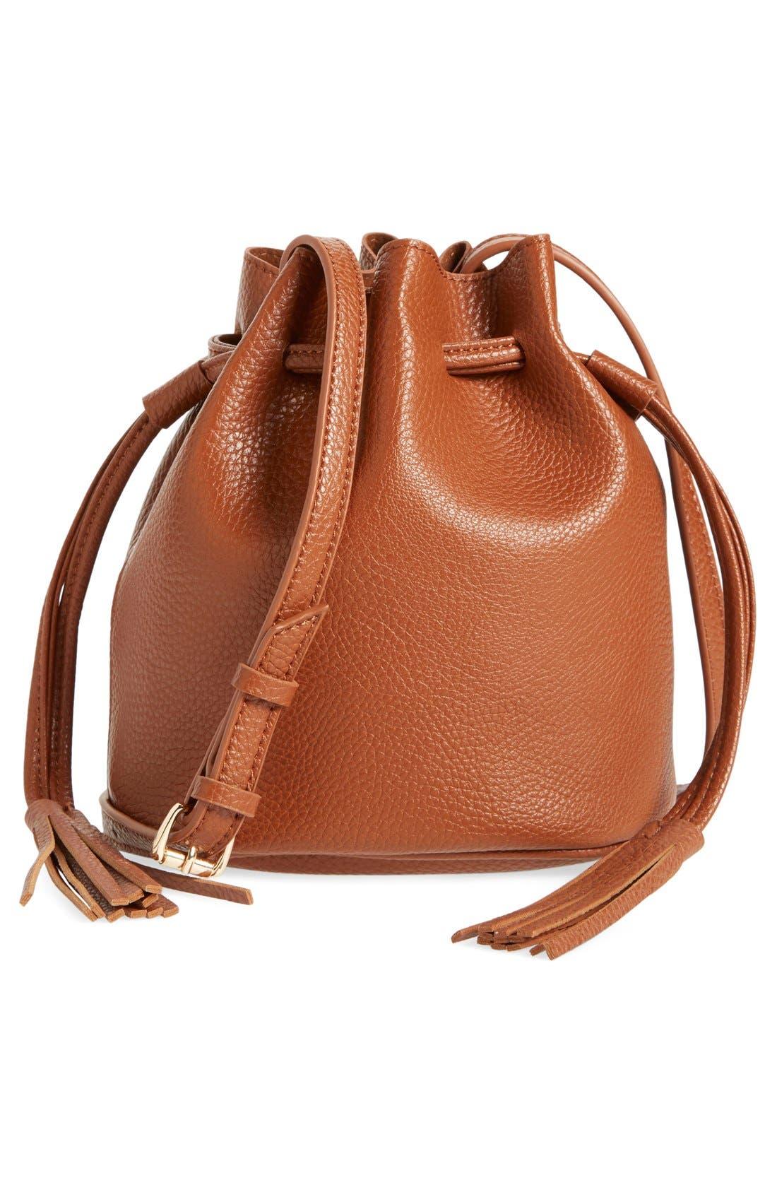 Mini Faux Leather Tassel Bucket Bag,                             Main thumbnail 1, color,                             Cognac