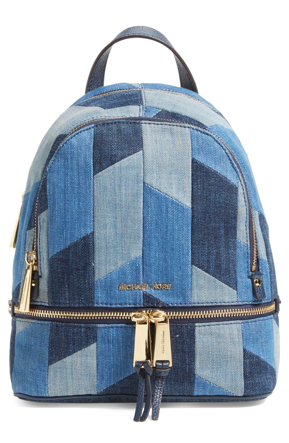 Alternate Image 1 Selected - Michael Kors 'Small Rhea Zip' Denim Backpack