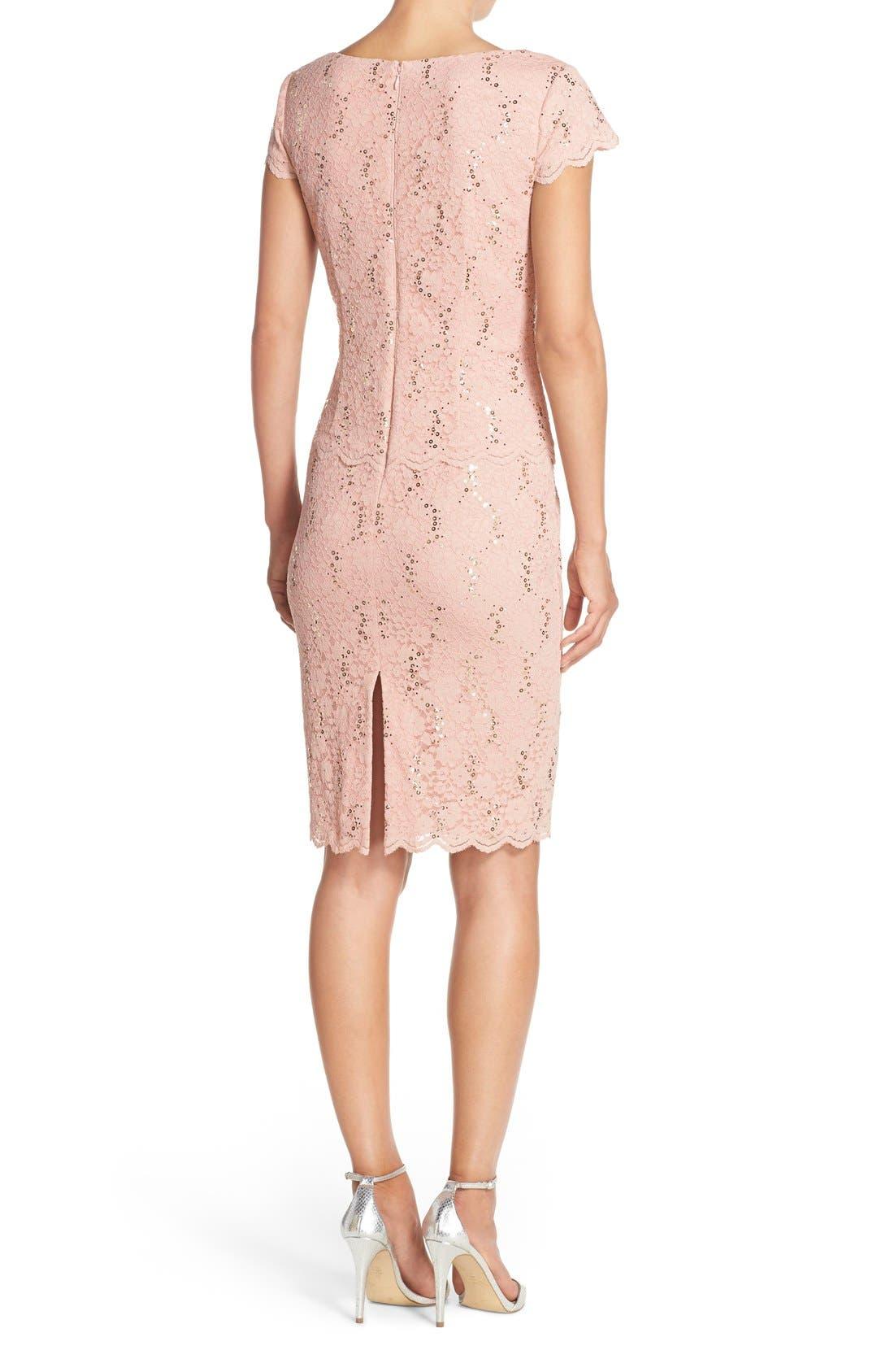 Alternate Image 2  - Alex Evenings Embellished Lace Sheath Dress