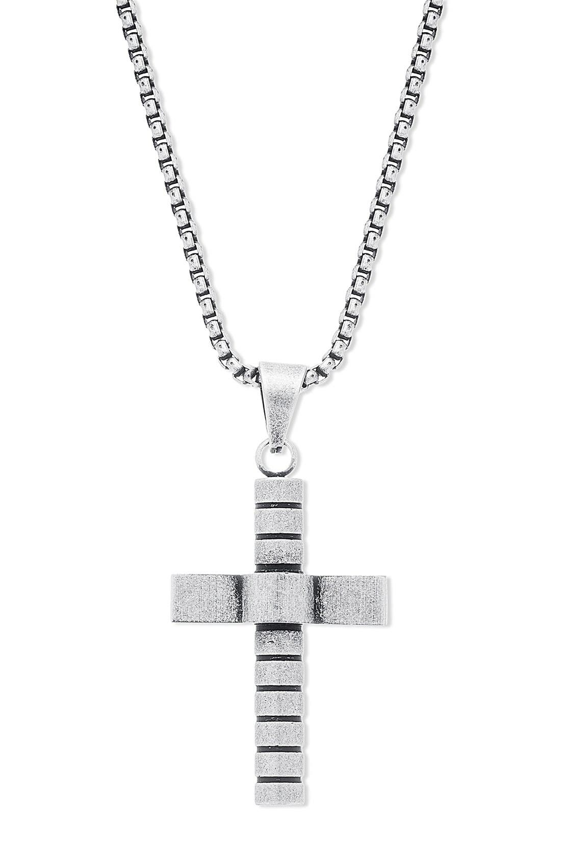 Cross Pendant Necklace,                             Alternate thumbnail 2, color,                             Burnished Silver