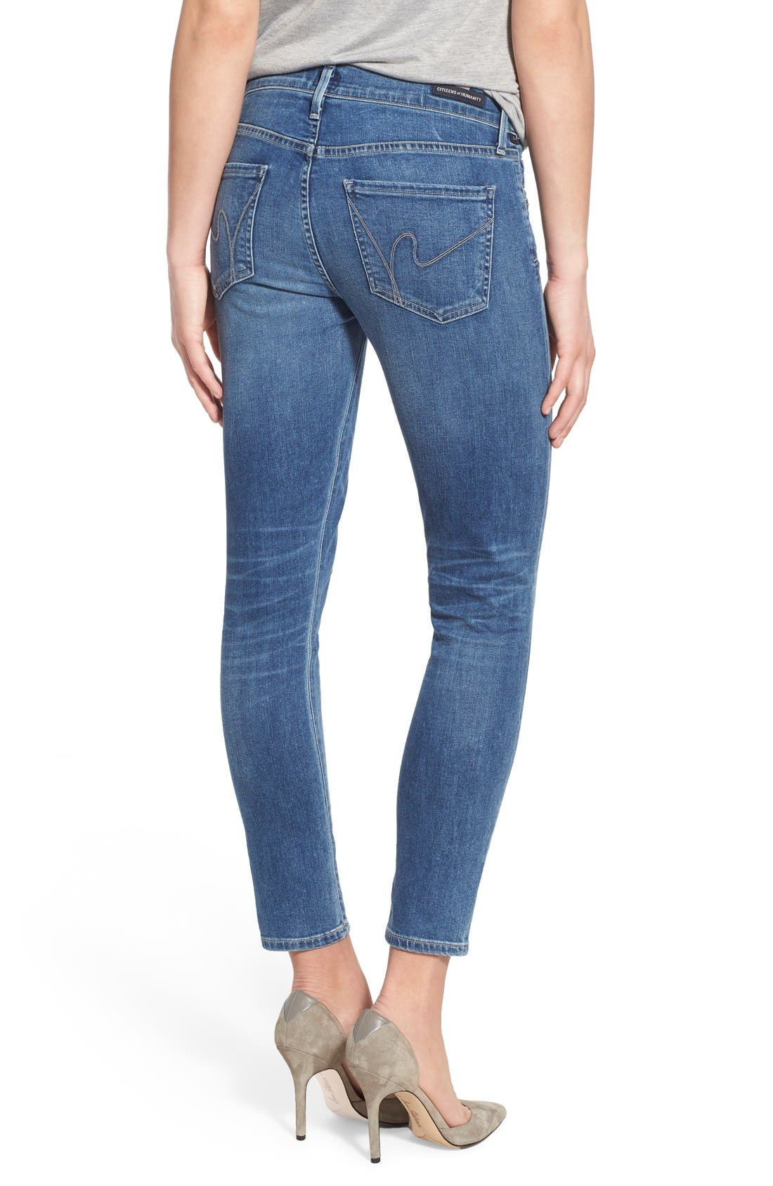 Ankle Skinny Jeans,                             Alternate thumbnail 2, color,                             Harbor