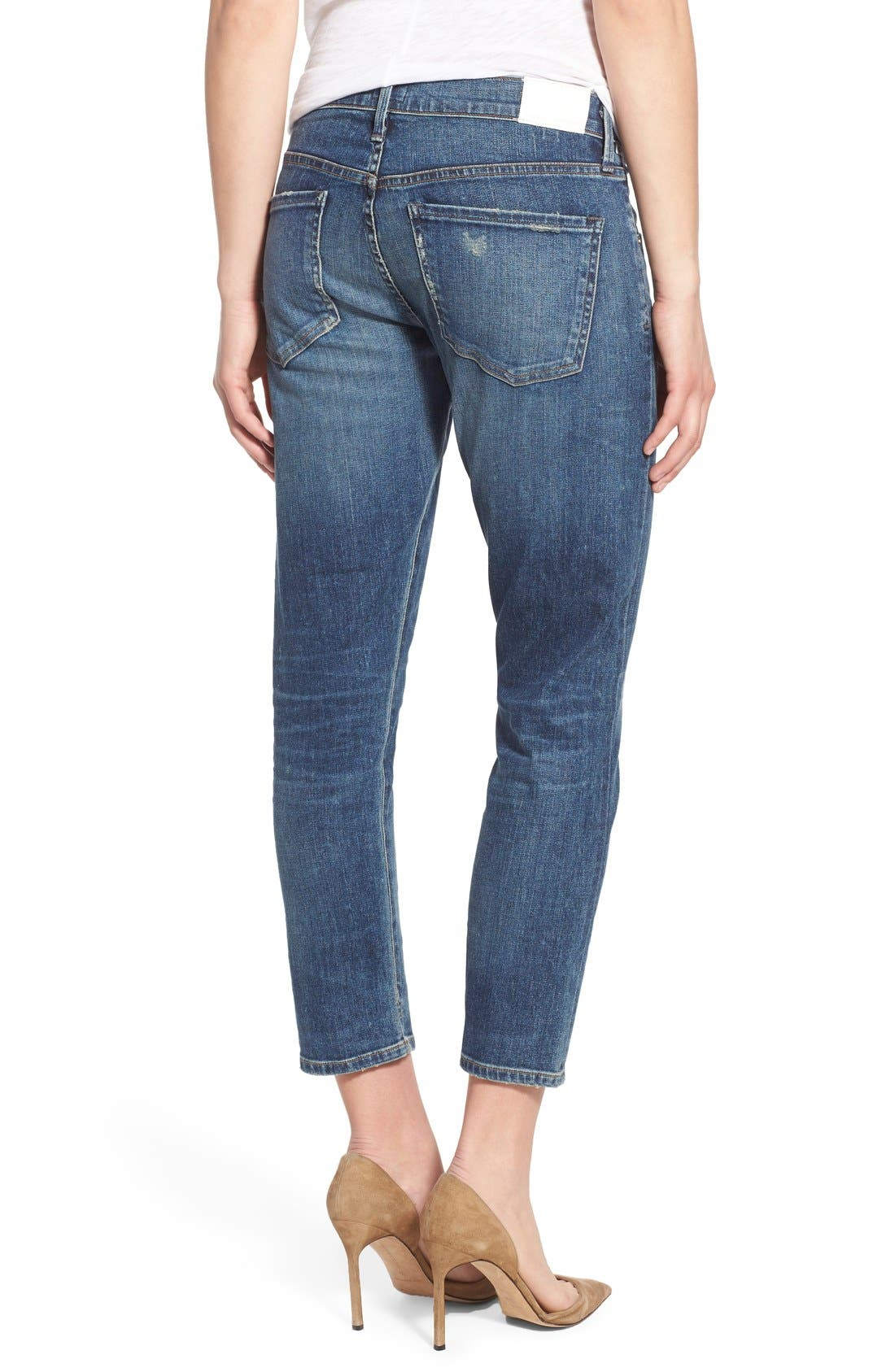 'Elsa' Crop Slim Jeans,                             Alternate thumbnail 2, color,                             Dossier