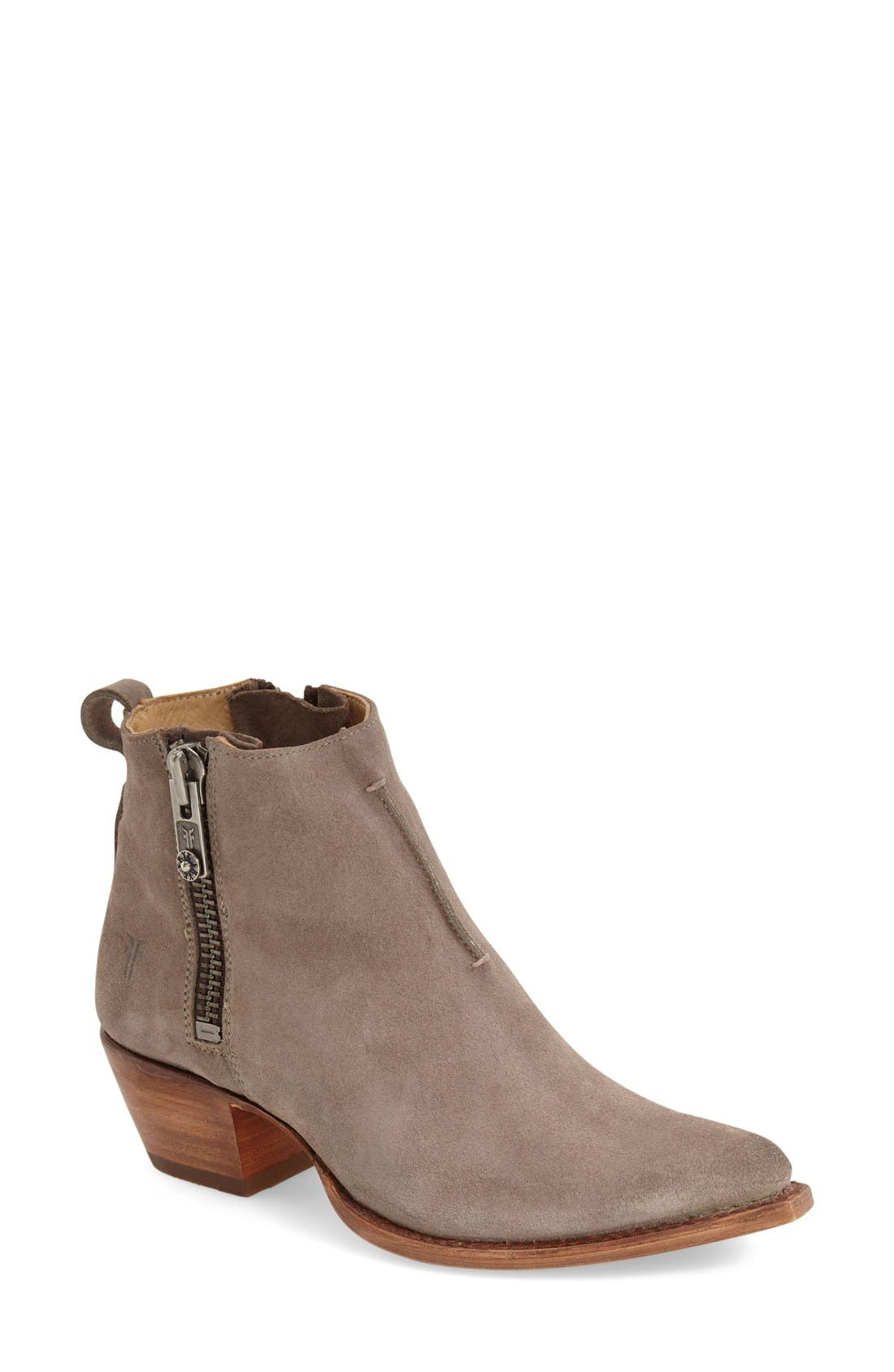 'Sacha' Washed Leather Ankle Boot,                             Main thumbnail 1, color,                             Dark Grey Suede