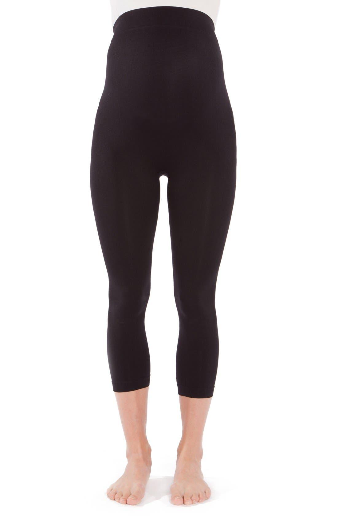 2-Pack Seamless Maternity Capri Leggings,                         Main,                         color, Black