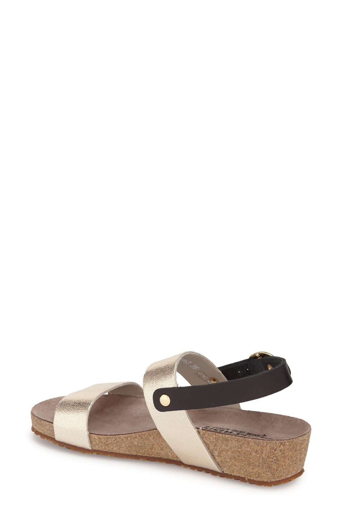 'Italia' Sandal,                             Alternate thumbnail 2, color,                             Platinum Leather