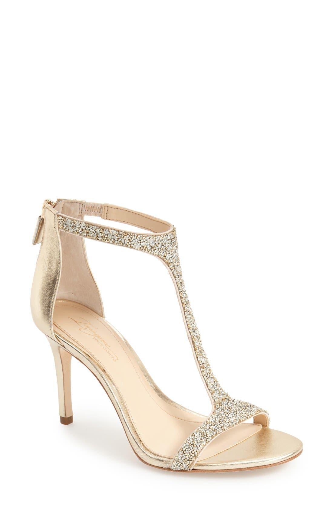 'Phoebe' Embellished T-Strap Sandal,                             Main thumbnail 1, color,                             Crystal/Gold Nappa