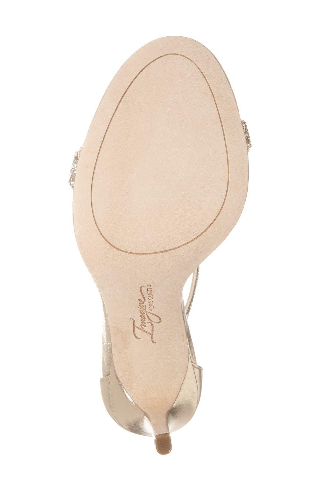 'Phoebe' Embellished T-Strap Sandal,                             Alternate thumbnail 4, color,                             Crystal/Gold Nappa