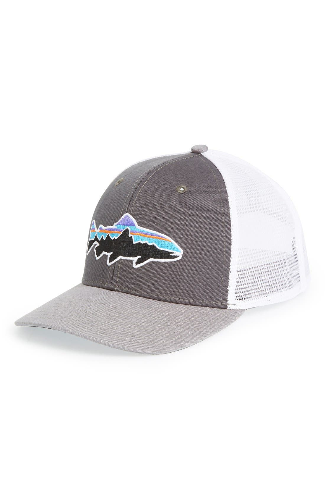 Patagonia  Fitz Roy - Trout  Trucker Hat - Grey In Forge Grey  Feather Grey   011182067ce4