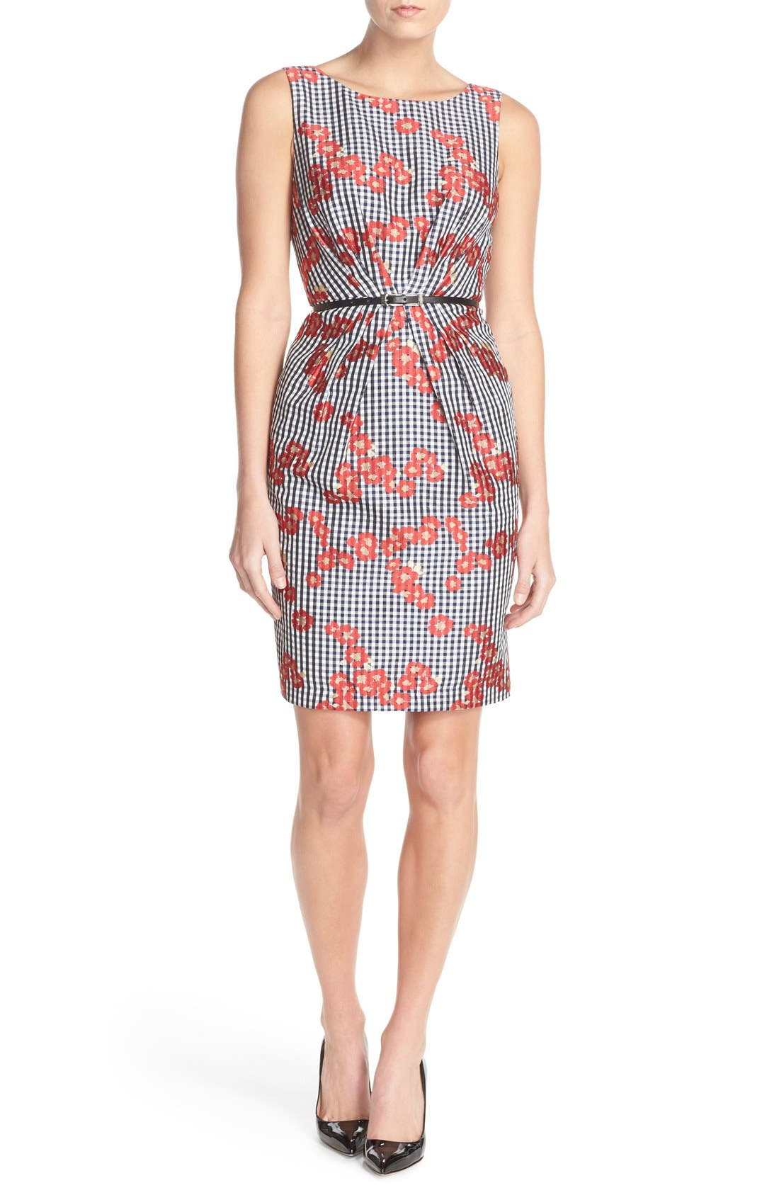 Alternate Image 1 Selected - Adrianna Papell Floral & Gingham Jacquard Sheath Dress (Regular & Petite)