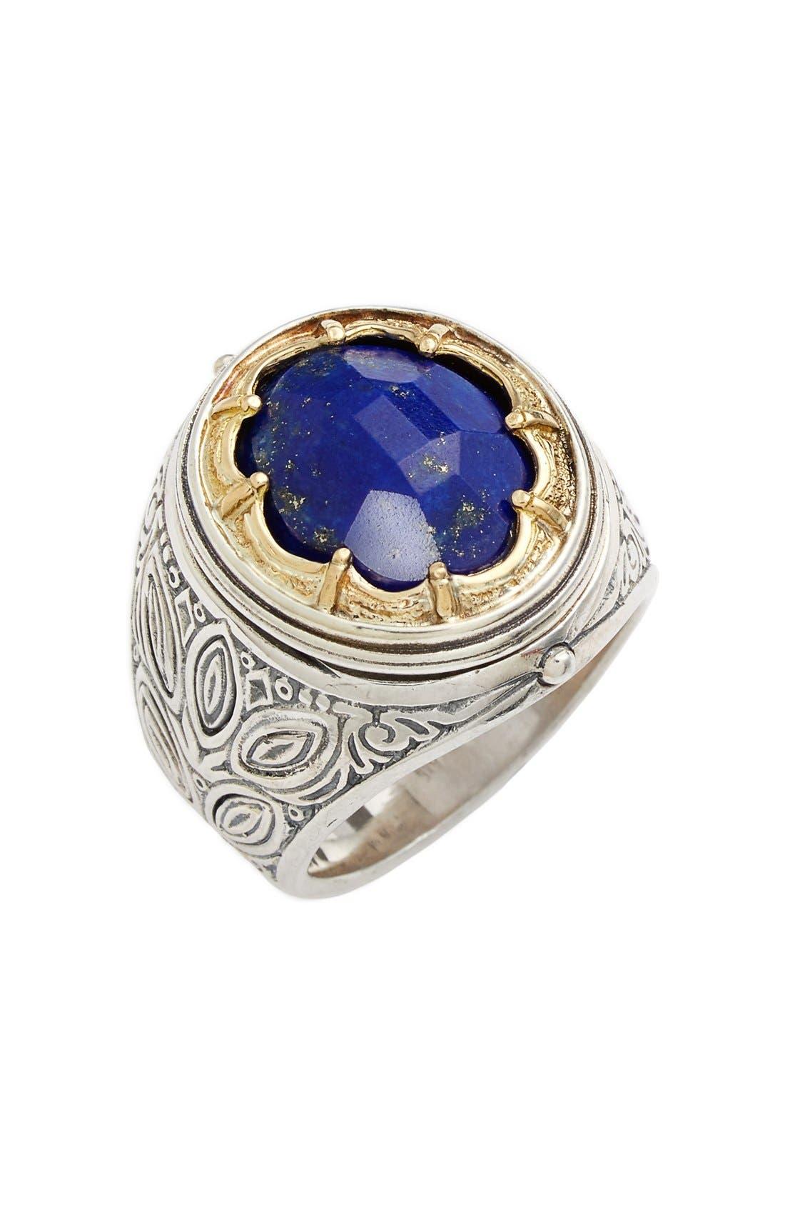 'Orpheus' Petal Set Semiprecious Stone Ring,                             Main thumbnail 1, color,                             Silver/ Gold/ Lapis