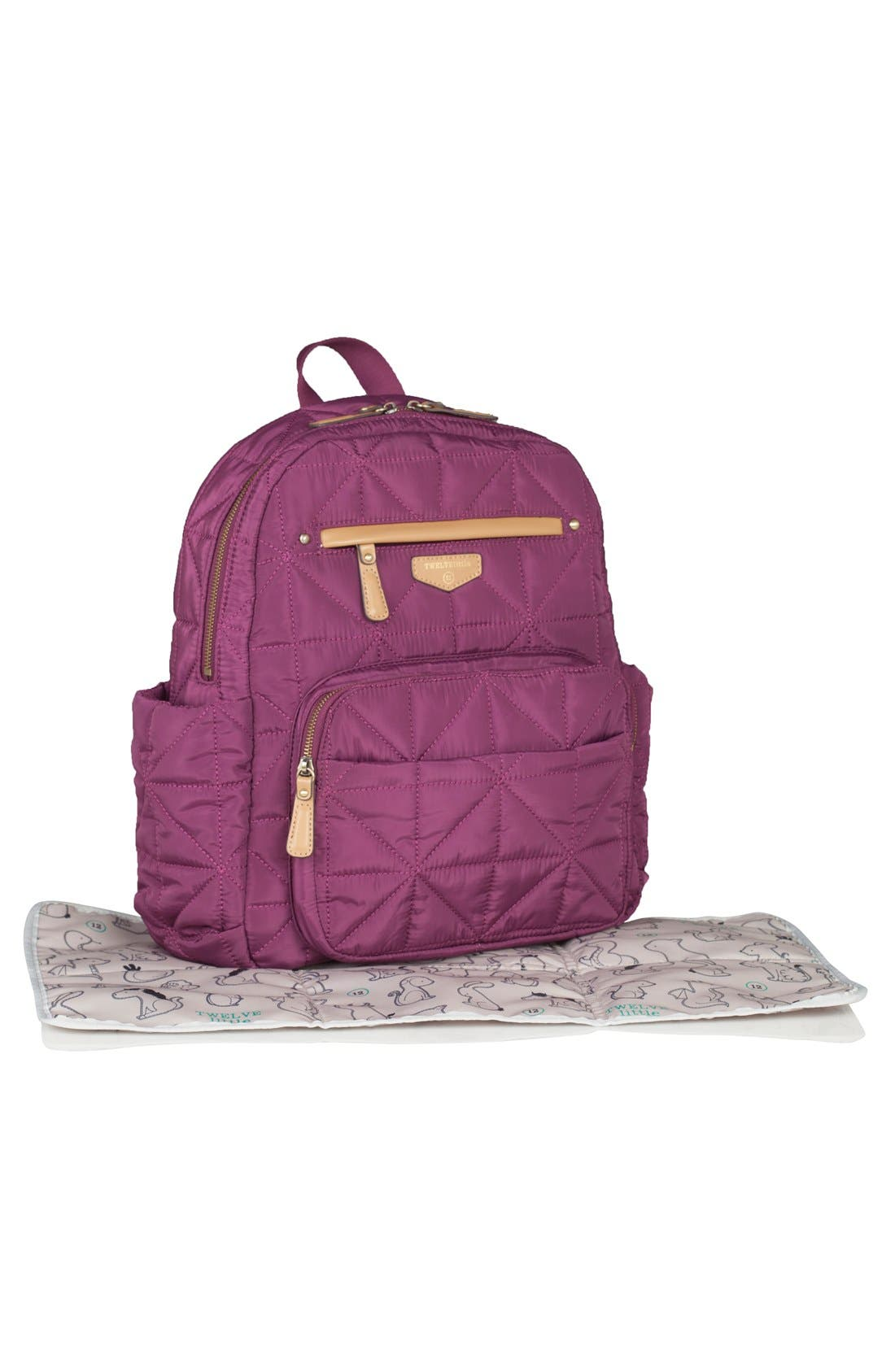 Quilted Water Resistant Nylon Diaper Backpack,                             Alternate thumbnail 3, color,                             Plum