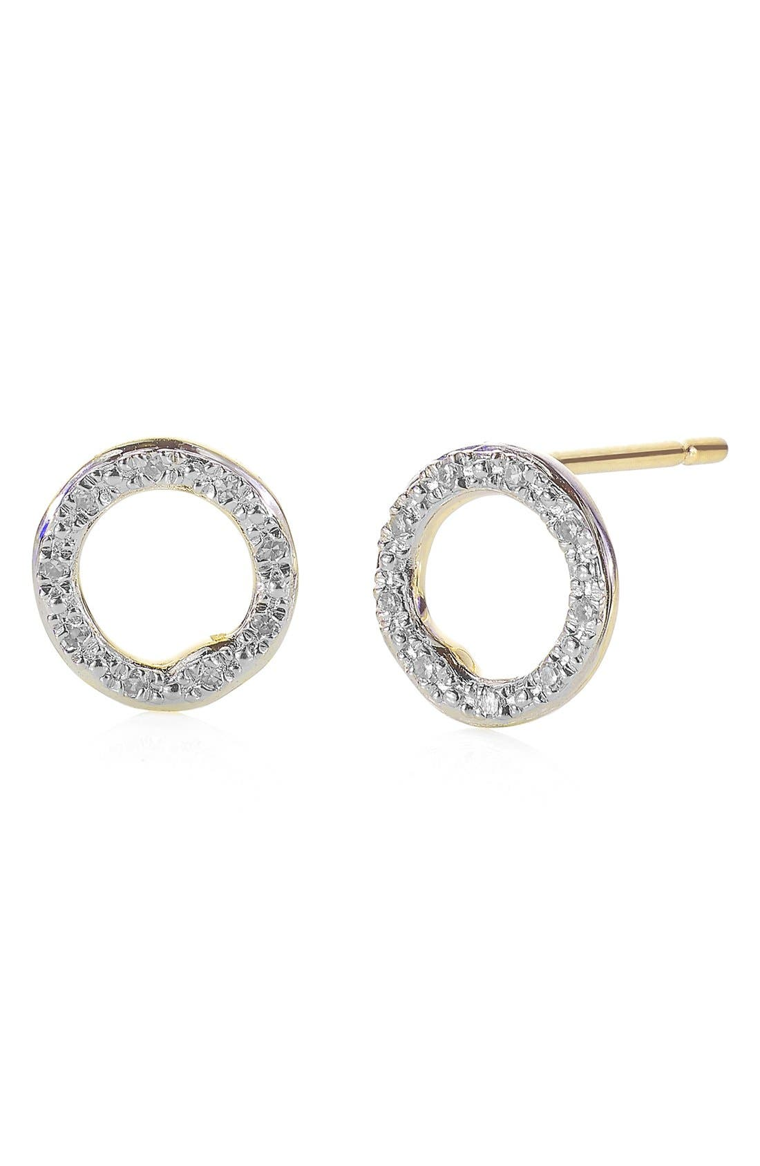 Main Image - Monica Vinader 'Riva' Circle Stud Diamond Earrings