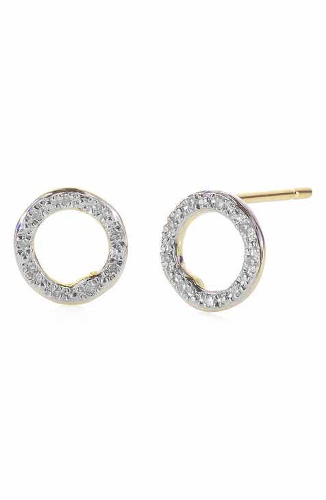 4b123a715 Monica Vinader 'Riva' Circle Stud Diamond Earrings
