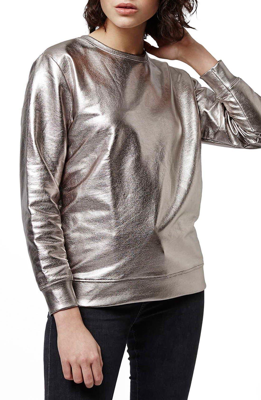 Main Image - Topshop 'Luxe' Foiled Sweatshirt