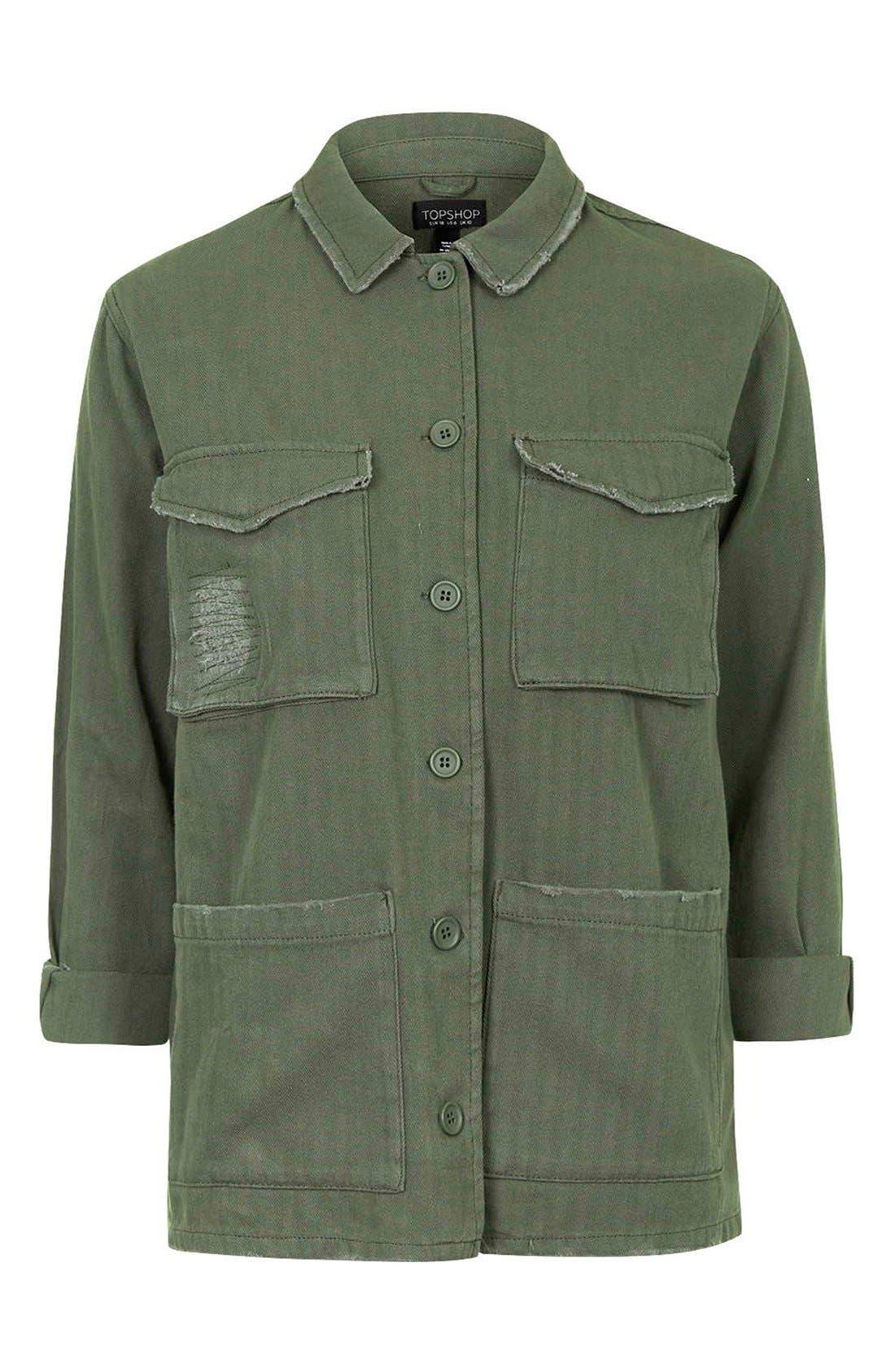 Authentic Washed Khaki Jacket,                             Alternate thumbnail 5, color,                             Olive