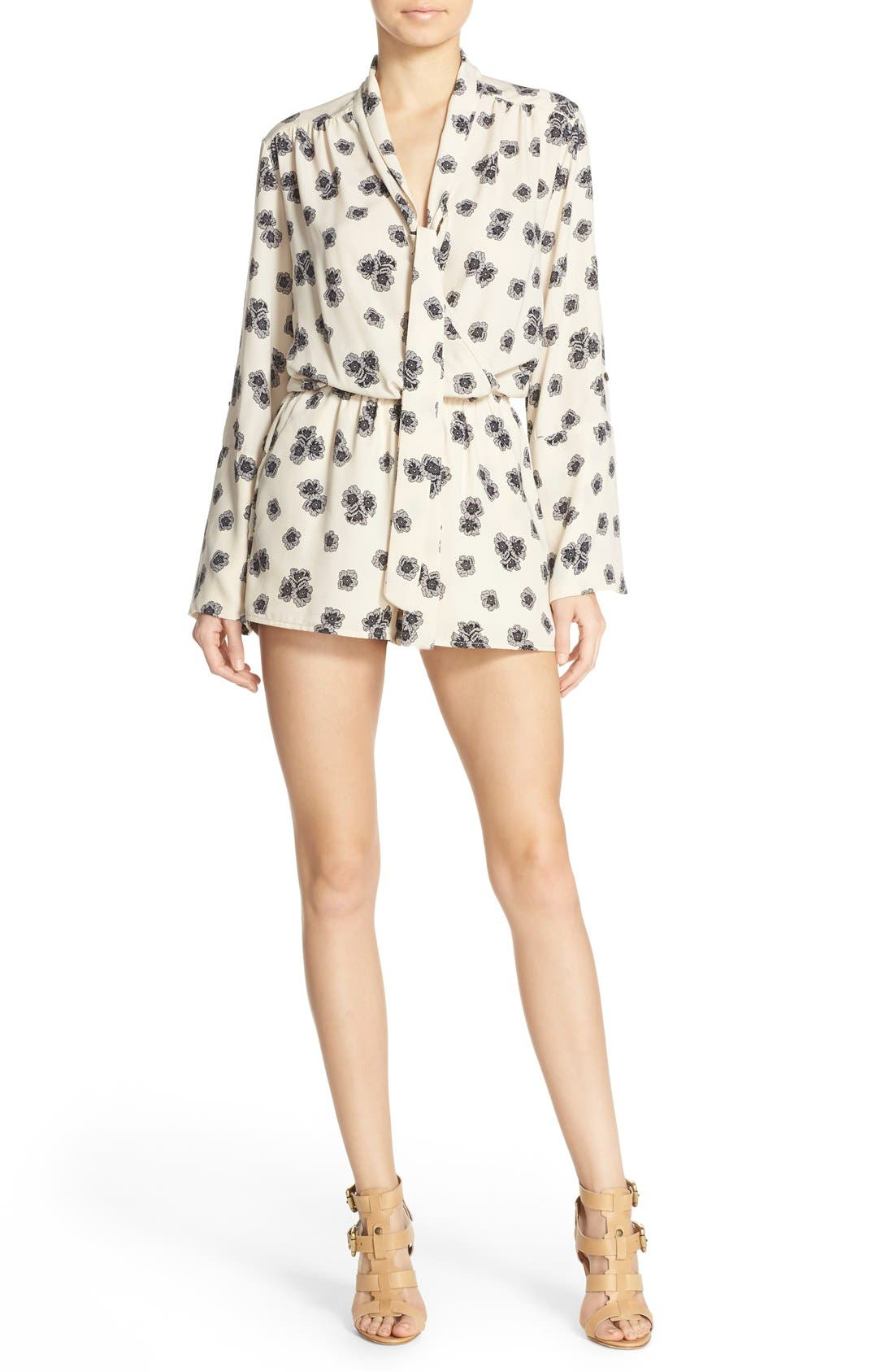 Print Tie Neck Romper,                         Main,                         color, Mewha Ivory