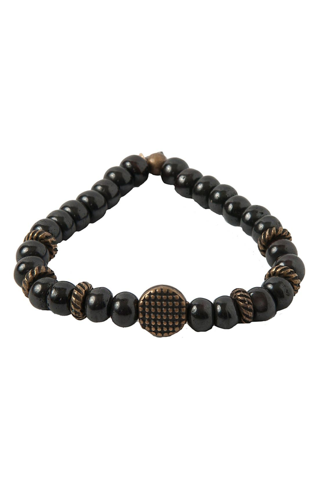 MR. ETTIKA Wood & Brass Stretch Bracelet