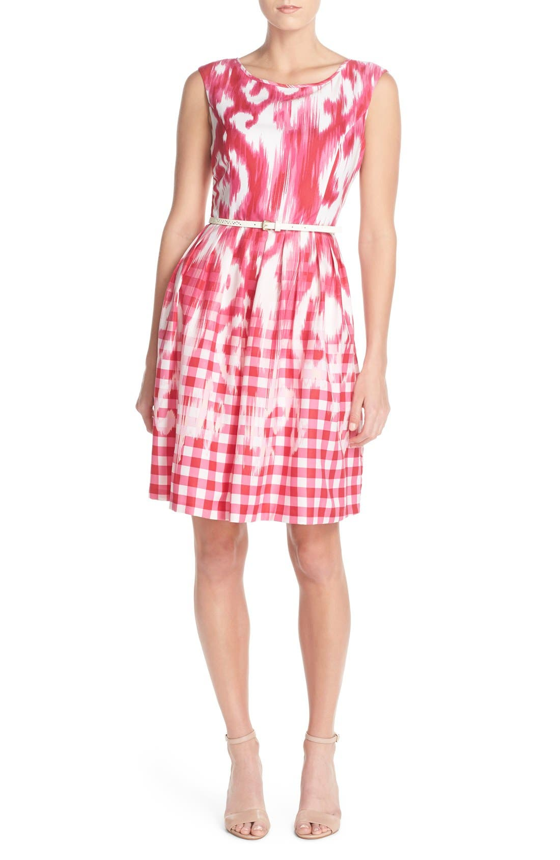 Alternate Image 4  - Ellen Tracy Belted Mixed Print Faille Fit & Flare Dress (Regular & Petite)