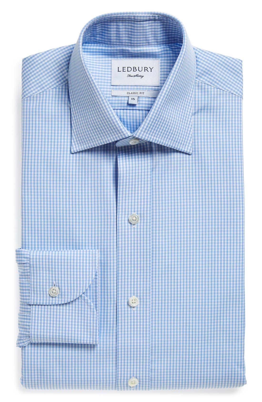 Classic Fit Gingham Dress Shirt,                         Main,                         color, Blue