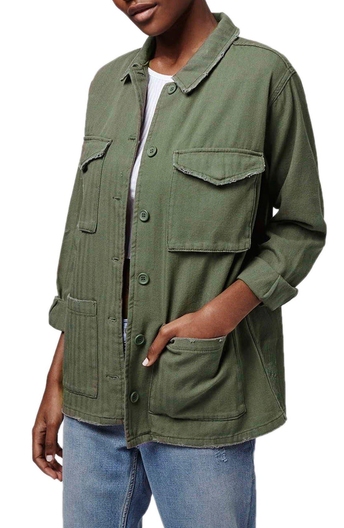 Main Image - Topshop Authentic Washed Khaki Jacket