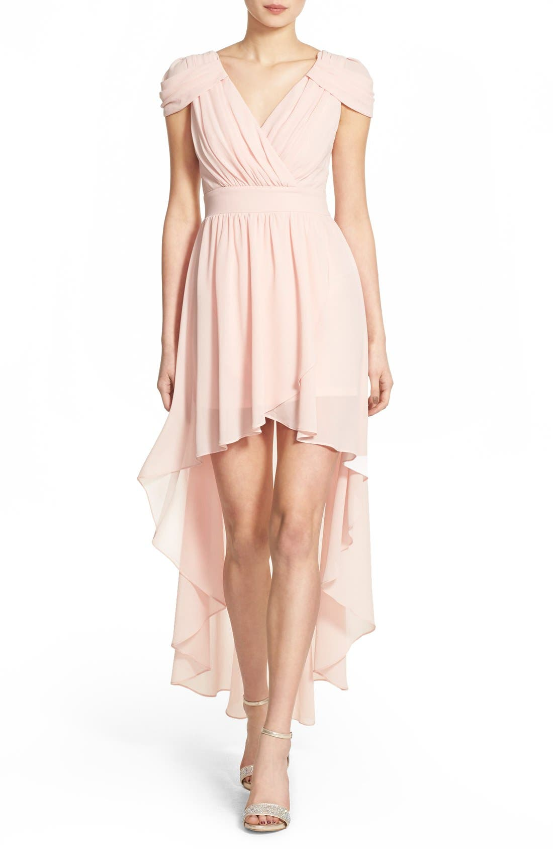 Main Image - TFNC 'Hadie' High/Low Ruched Dress