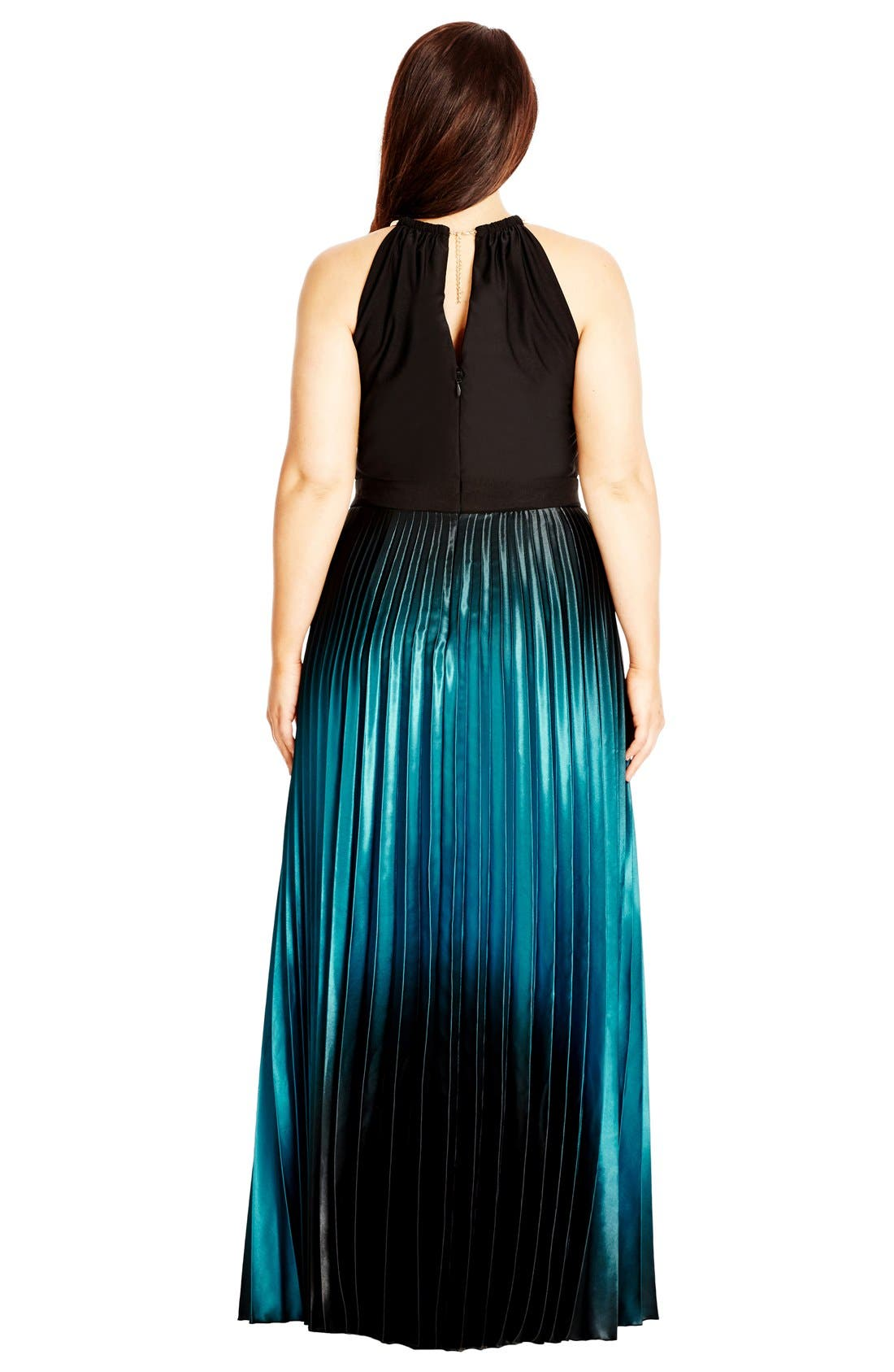 Alternate Image 2  - City Chic Ombré Keyhole Neck Pleat Maxi Dress (Plus Size)