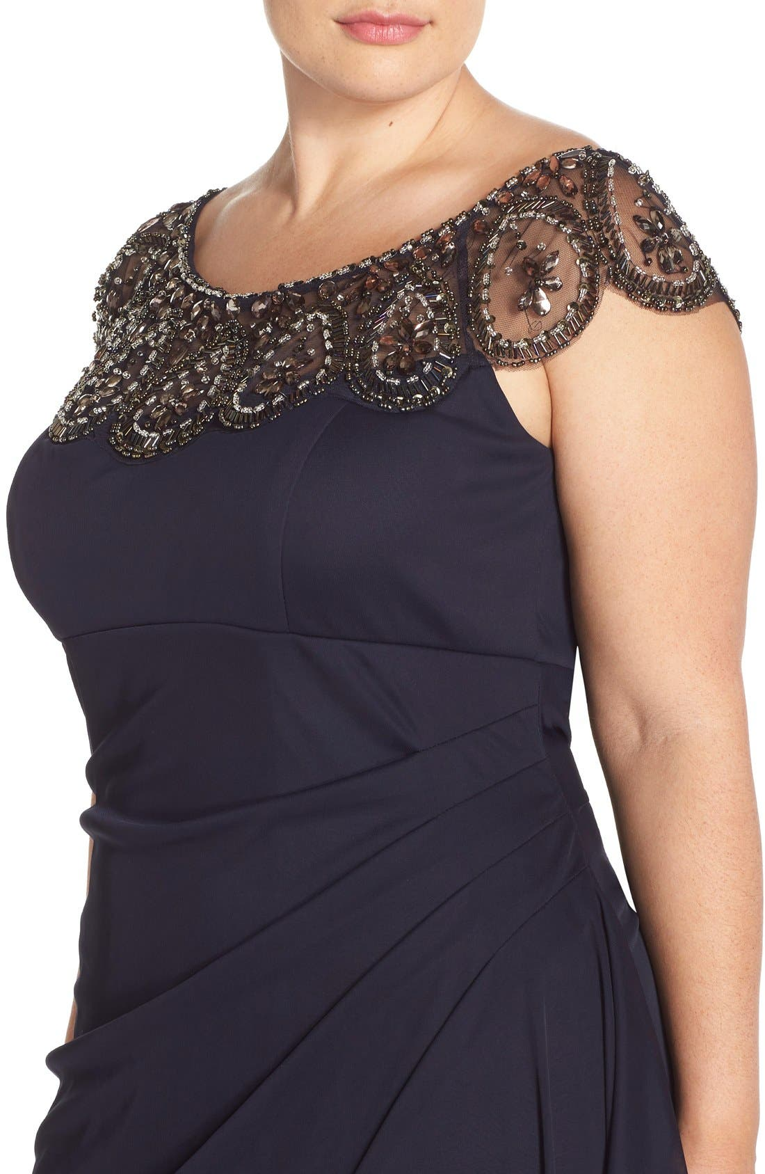 Alternate Image 4  - Xscape Beaded Neck Empire Gown (Plus Size)