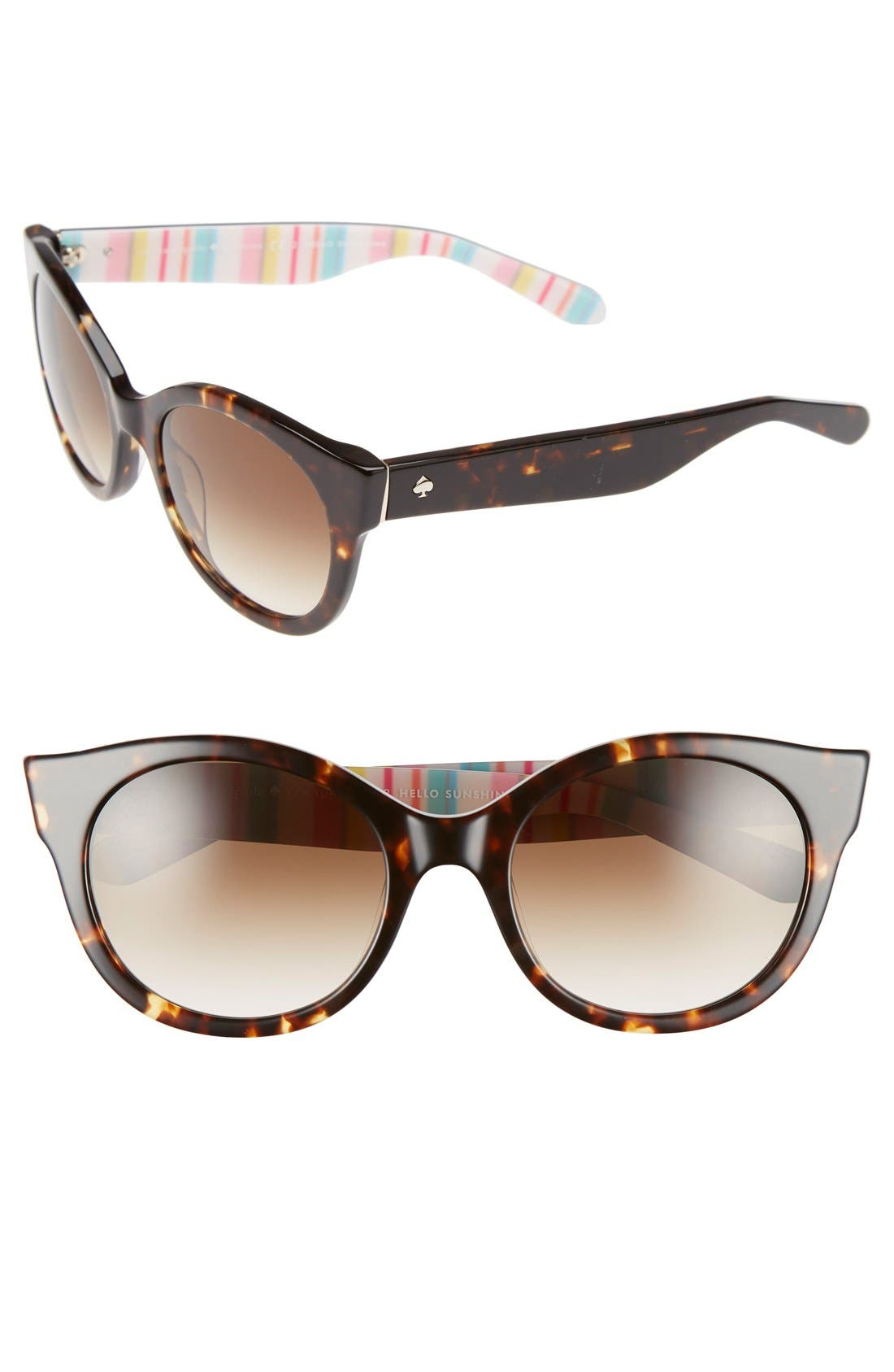 'melly' 53mm sunglasses,                         Main,                         color, Havana