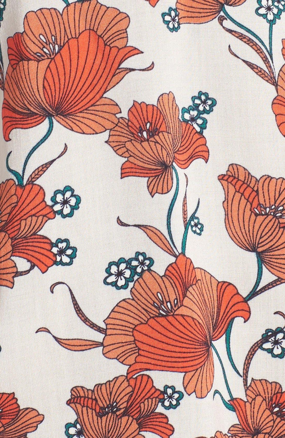 ASTR Mixed Print Off the Shoulder Top,                             Alternate thumbnail 6, color,                             Orange Multi Floral