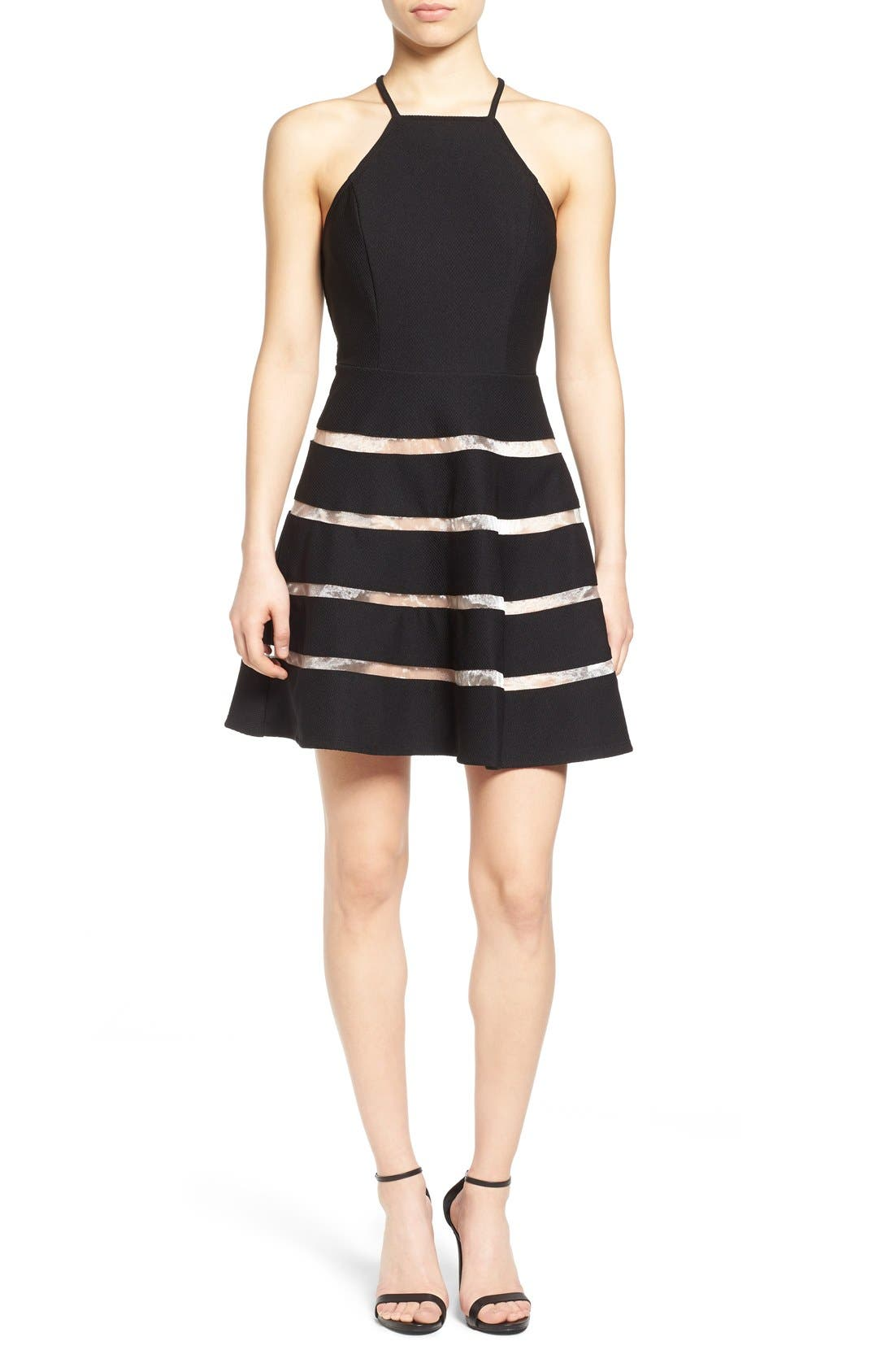 Alternate Image 1 Selected - Way-In Inset Stripe Skater Dress