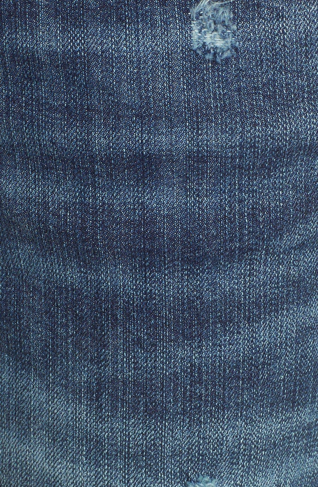 Rolled Denim Boyfriend Shorts,                             Alternate thumbnail 6, color,                             Medium Destruct