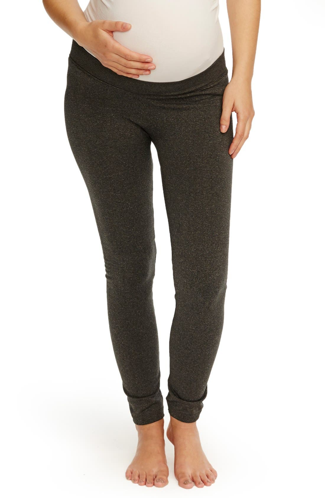 Seamless Low Rise Maternity Leggings,                         Main,                         color, Charcoal Heather